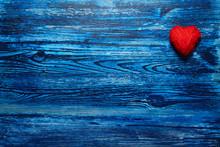 Hearts On Blue Wooden Background. Love. Valentine's Day.