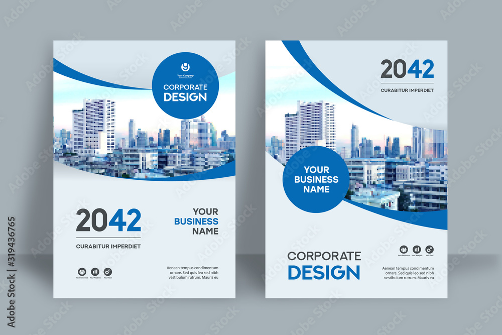 Fototapeta City Background Business Book Cover Design Template