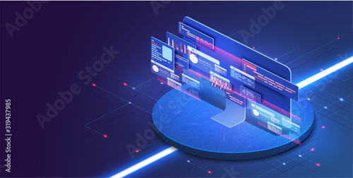 Fotomural Application of PC with business graph and analytics data on isometric computer