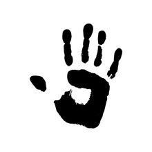 Grunge Handprint In Black Ink. Vector Icon Human Palm Isolated On White Background. Abstract Symbol.