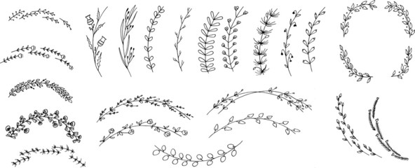 Postavljeni cvjetni i biljni vijenci. Različite ručno nacrtane cvjetne grane.