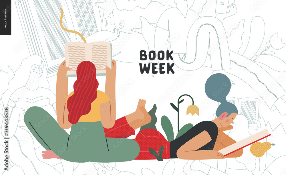 Fototapeta World Book Day graphics - book week events. Modern flat vector concept illustrations of reading people - a young woman reading a book laying down surrounded by plants and young sitting woman