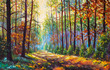 Oil painting Autumn forest scenery with rays of warm light illumining gold foliage and footpath leading into scene art illustration nature