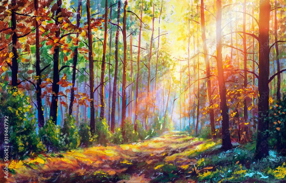 Oryginalny obraz olejny wspaniały las jesienią, malowniczy krajobraz z piękną ciepłą, słoneczną sztuką <span>plik: #319447792 | autor: weris7554</span>