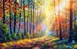 Original oil painting gorgeous forest in autumn, scenic landscape with pleasant warm sunshine fine art