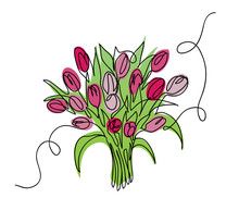 Tulips Bouquet, Bloom  Vector Sketch, Doodle.  One Continuous Line Drawing Spring Flowers.  Tulips Bouquet Illustration.