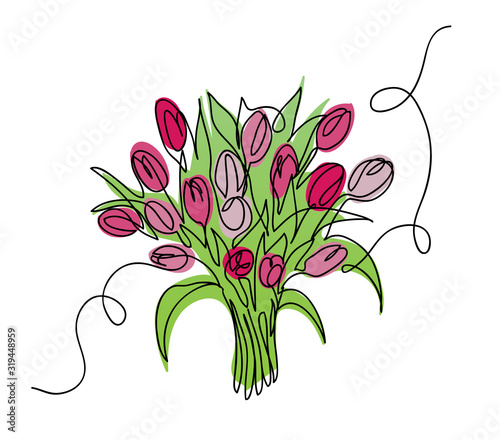 Fotografia Tulips bouquet, bloom  vector sketch, doodle