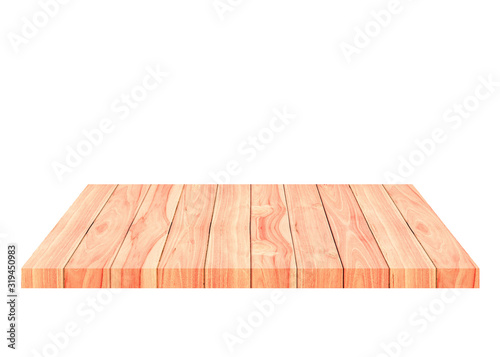 Beautiful empty brown wooden shelf on white background Canvas Print