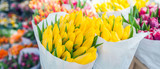 Fototapeta Tulipany - tulips for sale at street flowers market