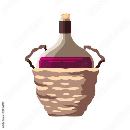 Cuadros en Lienzo bottle of wine in wicker basket on white background
