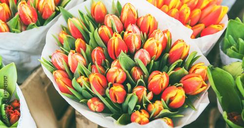 Fototapeta tulips for sale at street flowers market obraz