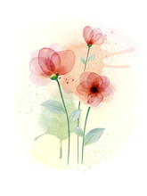 Watercolor Hand Painted With Colourful Flower
