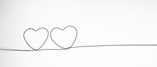 Valentines Day. Continous Line Heart Shape Border On White Background. Valentines Day, Marriage, Mother Day, Love Concept.