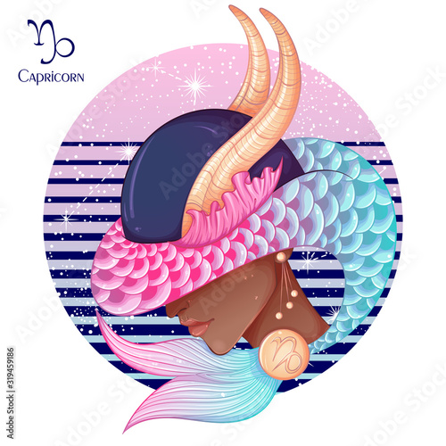 Zodiac. Vector illustration of the astrological sign of Capricorn as a beautiful fashion african american girl in hat. Sign inscribed in a round shape isolated on white background. Fashion woman Wall mural