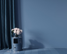 Blue Monochrome Interior With ...
