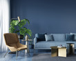 canvas print picture Living room with blue sofa and yellow  armchair