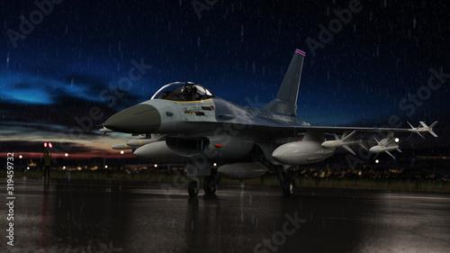 Fotografie, Tablou F-16 jet fighter under heavy rain at night in militart airbase 3d render