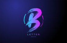 Alphabet B Letter Logo Grunge Brush Blue Pink Logo Icon Design Template