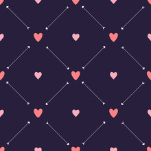 Valentine Seamless Pattern With Hearts And Arrows On Purple Background. For Wallpaper, Gift And Wrapping Paper, Greeting Card And Wedding Invitations, Textile, Fabric, Linen, Pajamas, Web Page.