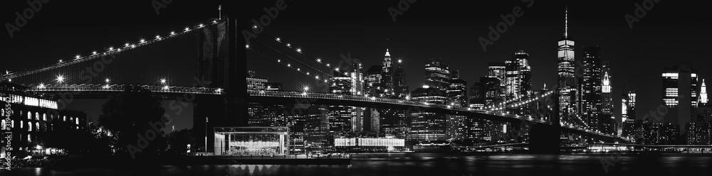 Fototapeta Black and White Brooklyn Bridge New York City
