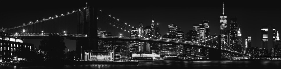 Panel Szklany Nowoczesny Black and White Brooklyn Bridge New York City