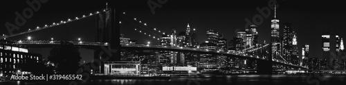 Fototapeta Black and White Brooklyn Bridge New York City obraz