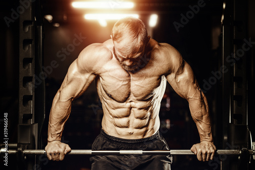 Bodybuilder handsome strong athletic rough man pumping up muscles workout fitnes Canvas Print