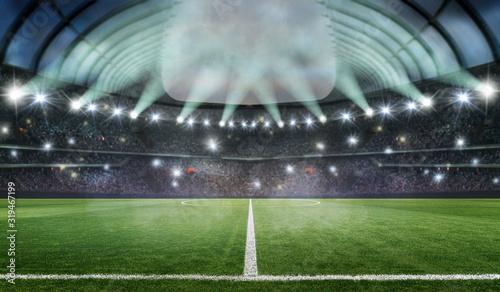 Photo soccer stadium 3d rendering at night