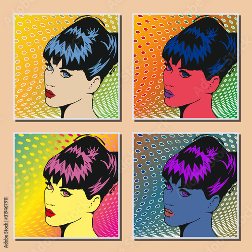 Pop art. Visage d'une femme Canvas Print