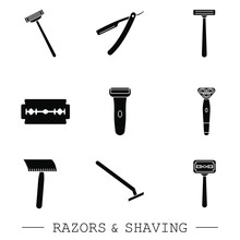 Razor Vector Black Icon Set. Collection Of 9 Razor Outline Icons. Editable Razor Icons For Web And Mobile. Shaving. Shaver Blade Razor Simple