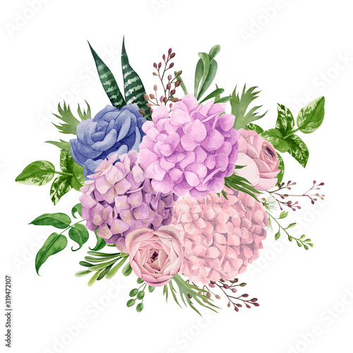 Photographie Lush pink hydrangea bouquet, top view, hand drawn