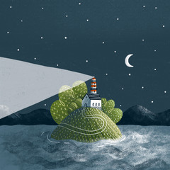 Fototapeta Morze Lighthouse on an island in the middle of the sea illustration