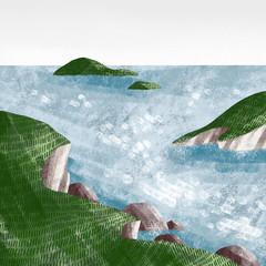 Fototapeta Morze Windy seashore cliffs illustration