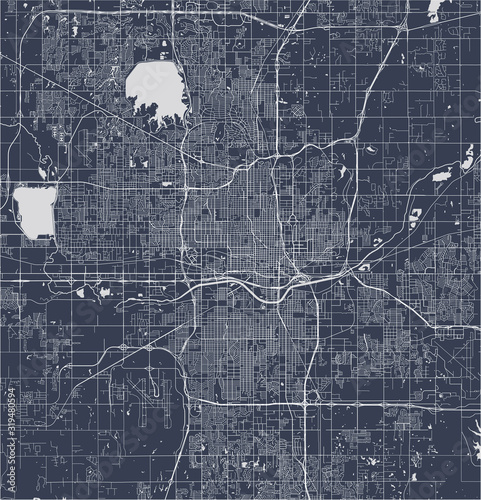Photo map of the city of Oklahoma, Oklahoma City, USA