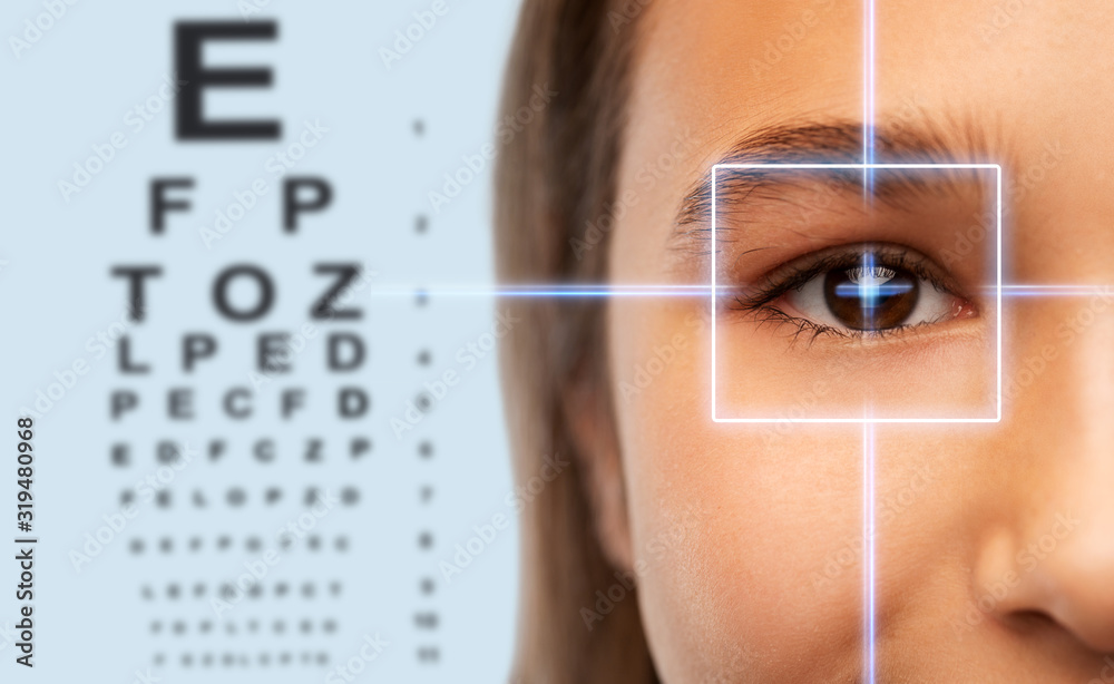 Fototapeta vision correction, optometry and people concept - close up of teenage girl face with laser ray over eye test chart background