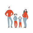 Modern flat vector illustration with happy family. Parents with children standing together. Concept of family, family values, support and connections in families