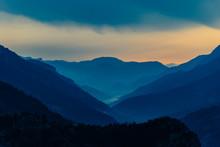 The Foggy Alps Mountains Durin...