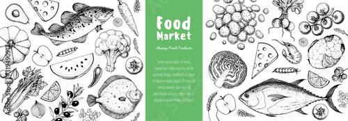 Food frame sketch. Vector illustration. Vegetables, fruits, fish hand drawn. Organic food set. Good nutrition pattern. Hand drawn food design elements. Healthy food