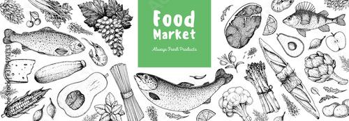 Fototapeta Food collection, hand drawn sketch. Vector illustration. Vegetables, fruits, meat, bread hand drawn. Organic food set. Good nutrition pattern. Hand drawn food design elements. obraz