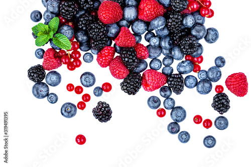 Sweet mix  berries isolated on white background, top view. Berry border frame. Flat lay. - 319491395