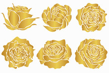 Set Of Golden Roses Isolated O...