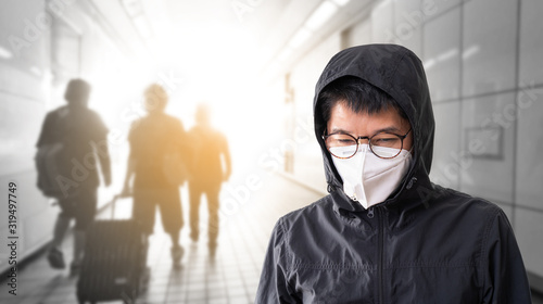 Fotomural Asian man wearing surgical face mask to prevent flu disease Corona virus and PM 2