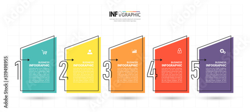 Timeline Infographics design template, linear concept with 5 steps Canvas Print