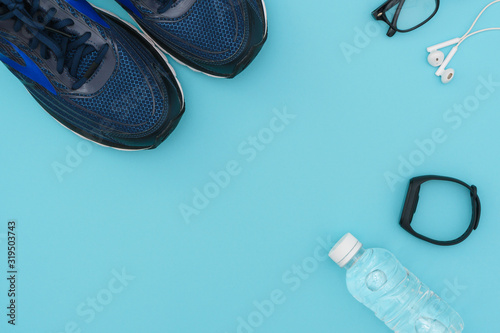 Fototapeta fitness stuffs against aqua background. health care conceptual images. flat lay. copy space obraz na płótnie