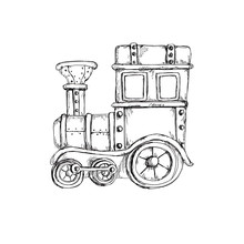 Sketch Hand Drawn Artistic Line Art Retro Steampunk Vehicle Vintage Clipart Icon Coloring Page Isolated On White Background