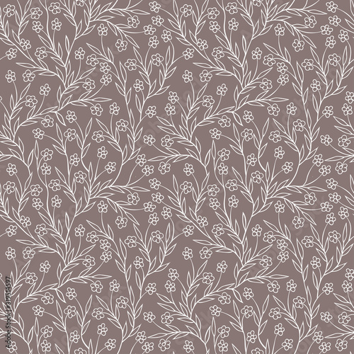 Photo Vector seamless floral pattern with branching flower stems on an ashen gray background, freehand outline drawing, for web background, textile, paper, doodle style, monochrome, fashionable tint