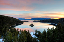 A Beautiful Sunrise Over Emerald Bay In Lake Tahoe, California.  Emerald Bay Is One Of The Most Popular Tourist Attractions Around Lake Tahoe.