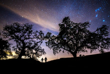 A Man And Woman Stand Holding Hands Under Beautiful Oak Trees At Night With The Night Sky, Milky Way And Orion Constellation Overhead In Alexander Valley, California.