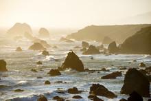 A Beautiful View Of Sea Stacks At Sunset At Sonoma Coast State Park Near Bodega Bay And Jenner, California.