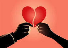Man And Woman Hand Holding Each Part Of Heart Symbol